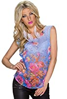 4238 Fashion4Young Damen Leger geschnittenes Shirt Front-Print in Weiss Multicolor Tattoo Gr. S/M