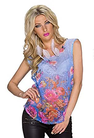 4238 Fashion4Young Damen Leger geschnittenes Shirt Front-Print in Weiss Multicolor Tattoo Gr. S/M (S/M=34/36, Blau Multicolor)