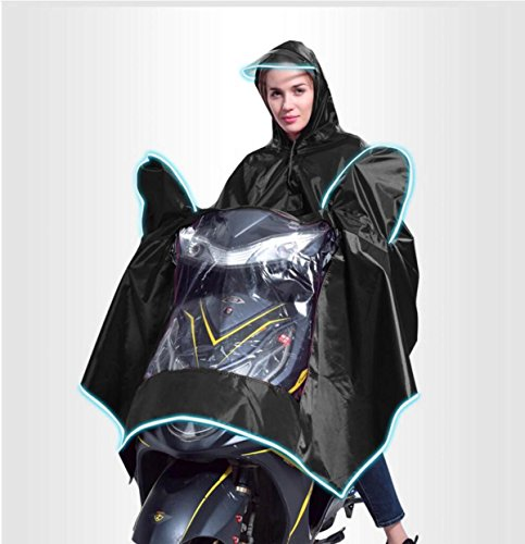 LQABW Erwachsene Motorrad Poncho High Grade Polyester PVC-Leucht Big Brim Regenmantel,Black