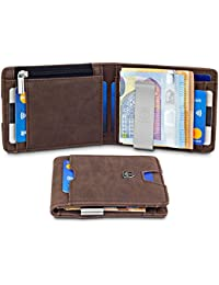 "TRAVANDO Slim Wallet ""London"" – Thin Bifold Card Wallet – with Coin Compartment - 8 Card Slots - RFID Blocking - Perfect Gift for Men - with Gift Box - Designed in Germany"
