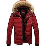Newbestyle Homme Hiver Manteau Court Paragraphe Coton De Plus en Velours Chaud Manteau Parkas (X-Large, Rouge)