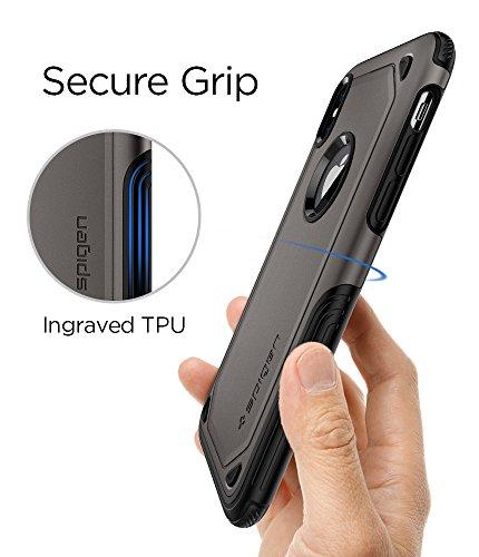 iPhone X Hülle, Spigen® [Hybrid Armor] Stoßabweisend [Schwarz] 2-teilige Doppelschicht Schutz Silikon TPU + PC Schale Handyhülle Mit Luftpolster Air Cushion Technologie an den Kanten Schutzhülle für i HA Gunmetal