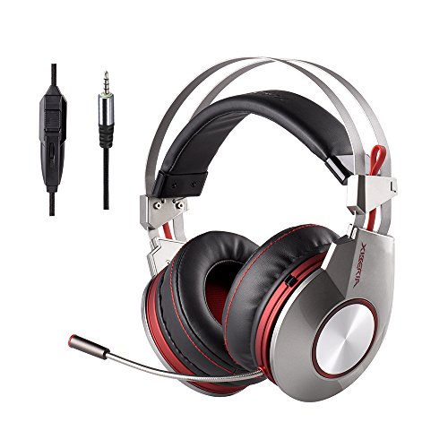 Xiberia ps4 gaming headset cuffia cuffie con microfono muto, computer cuffie cuffia audio surround, cavo sopra l' orecchio con controllo del volume play pause anello per laptop, mac, call center, video conferenza - k5d, 3.5mm