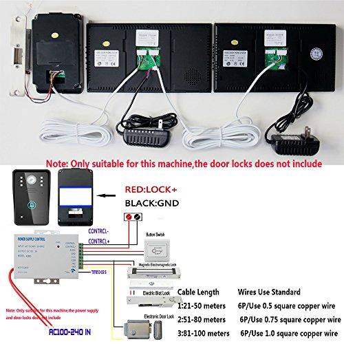 "MOUNTAINONE 7"" Video Door Phone Intercom Doorbell with 1pcs 1000TVL Outdoor Security CCTV Camera + 2pcs Indoor Monitor Home Security"