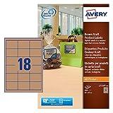 Avery L7110-20 Etichette per Prodotti in Carta Kraft, Effetto Cartone, Rettangolari, 62 x 42 mm, 20 ff, Marrone