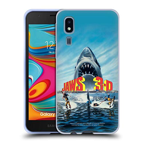 Head Case Designs Offizielle Jaws Poster 3-D III Schluessel Kunst Soft Gel Huelle kompatibel mit Samsung Galaxy A2 Core (2019) (3-poster Jaws)