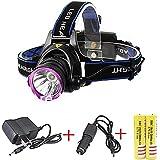 Genwiss 5000LM del CREE XM-L T6 XML LED 3-Modos de diseño de los faros deporte al aire libre de la lámpara principal prueba de agua incluyen 5000mAh 2 x 18650 recargable cargador y cargador de coche