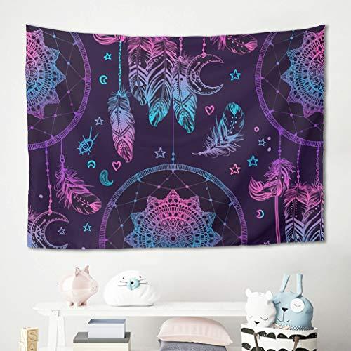 Homedb - Tapiz de Pared con diseño de Mandala, Color Lila, atrapasueños, Manta de Picnic, Yoga, meditación, Manta, salón, decoración de Pared, poliéster, Blanco, 100 x 150 cm