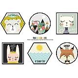 HCCY Die schlichten skandinavischen Stil home Dekorationen niedliche Tier Bilderrahmen Poster cartoon Wall Sticker 97*67 cm Sofa