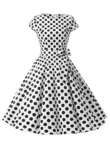 Dressystar Vintage 1950s Polka Dot and Solid Color Party Prom Dresses Rockabilly Cap Sleeves XS White Black Dot B