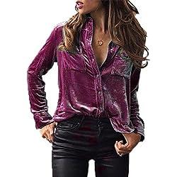 Fossen Mujer Terciopelo Blusa de manga larga Camisetas de baratas en oferta Blusas de Mujer Elegantes de Fiesta (XL, Morado)