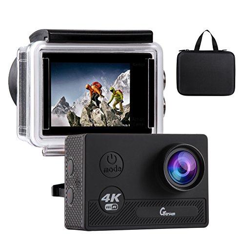 Action Cam 4K WIFI Unterwasserkamera 170° Weitwinkel 2-Zoll-HD-Bildschirm Wasserdichte Kamera mit 2.4G Fernbedienung Verbesserten Batterien