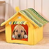 Semoss Rayas Diseño Casa Perro Exterior Cama Perro Grande Impermeable Jaula Perro Plegable Interior Perrera Perros para Perros,Gatos,Conejos y Animales Amarillo,Tamaño:M,40 cm X 35 cm