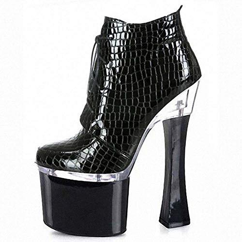 Super High Heel Stiefel, Vorne Mit Low Tube Fashion Plaid Dick Mit Wasserdichtem Plateau Hoch, Um Damenschuhen Zu Helfen,Schwarz,42 -