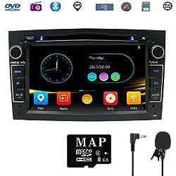 Stereo Home 7 pouces Autoradio GPS Navigateur pour Voiture pour Opel, unité de tête stéréo Voiture 2 Din avec Lecteur de CD/DVD, USB SD, 720P Video,FM AM RDS, Wince Système Bluetooth 8G Carte(Noir)