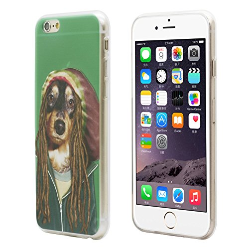 iProtect Schutzhülle Apple iPhone 6 6s Soft Case Hülle Rap Hund Edition lila Jamaika Dackel Edition grün