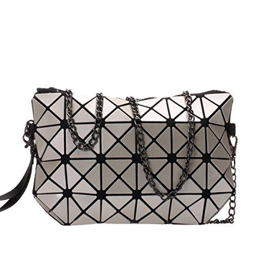 Frauen Hologram Geometric Cross Body-Umhängetasche Handtasche Cosmetic Bag milky