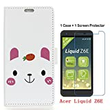 Acer Liquid Z6E Case+Glass Screen Protector,Wallet holster