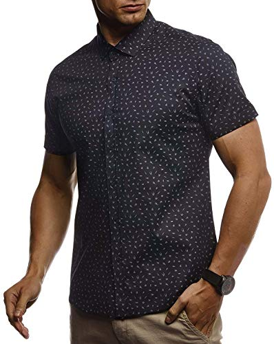 LEIF NELSON Herren Hemd Kurzarm Slim Fit T-Shirt Kentkragen | Stylisches Männer Freizeithemd Stretch Kurzarmhemd | Jungen Basic Shirt Freizeit Sweater Kurzarmshirt | LN3825 Schwarz Small