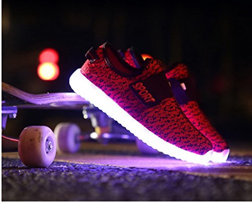ACME LED Leuchtend Schuhe Sneaker Sportschuhe Turnschuhe mit USB Aufladen und 7 Farbe Farbwechsel für Kinder Jungen Mädchen Schwarz-Rot