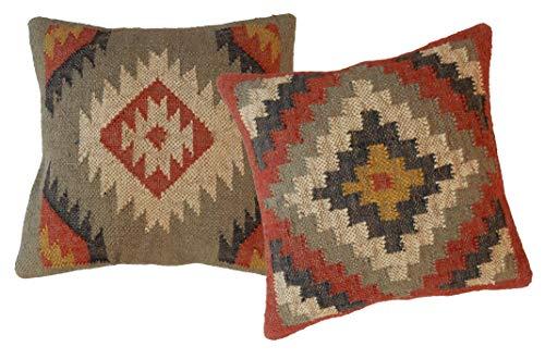 Juego 2 Almohadas Kilim Hechas Mano Bazar Indian Handicraft