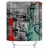 Bishilin Lustiger 3D Duschvorhang Antischimmel Freiheitsstatue Duschvorhang Wasserdichter 180x200 cm