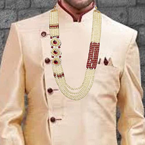 Raadhe creation Coloured Stone Premium Long Pearl Jewellery Necklace For Men/Groom For Wedding Wear(Dule Ki Mala)