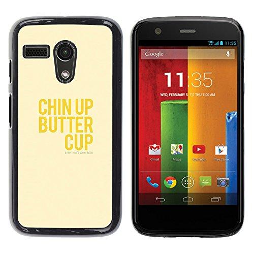WonderWall Tapete Bunt Bild Handy Hart Schutz hülle Case Cover Schale Etui für Motorola Moto G 1 1ST Gen I X1032 - optimistisch glücklich positive gelben Text