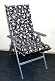 Zippy High Back Armchair Cushion - Waterproof Fabric - Black Tulip - Garden Furniture fits Multi Position Chairs