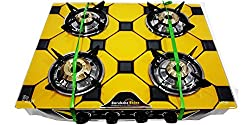 Suraksha Shine Stainless Steel Body with Toughened Digital Design Glass Top 4 Tri Pin Brass Burner Manual Gas Stove (Carlage Design)
