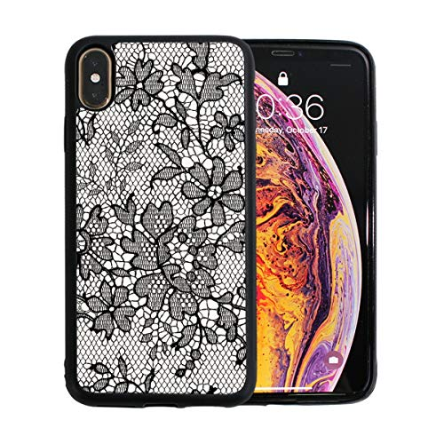 WYYWCY Fashion Trend Lace Print Apple Telefon Xs Max Fall Screen Protector TPU Hard Cover mit dünnen stoßfesten Stoßfänger Schutzhülle für Apple Telefon Xs Max 6,5 Zoll (Screen Swatch Protector)