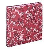 Hama Fotoalbum Decori II, Jumbo Album mit 100 weißen Seiten, für 400 Fotos im Format 10x15, Blumen-Ranken-Muster, 30x30, XXL Fotobuch flamingo-rot