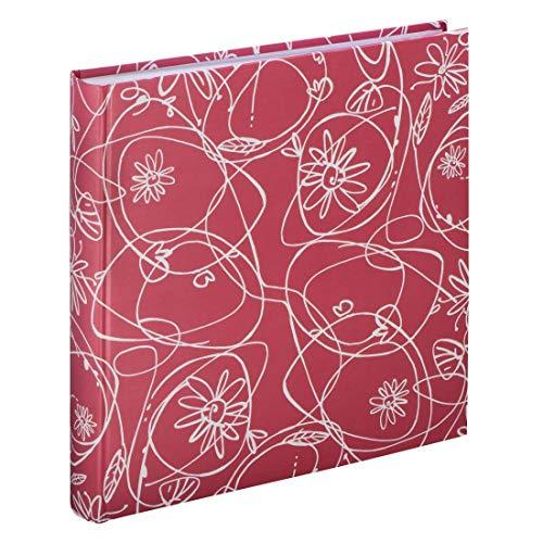 Hama Fotoalbum Decori II (Jumbo Album mit 100 weißen Seiten, für 400 Fotos im Format 10x15, Blumen-Ranken-Muster, 30x30) XXL Fotobuch flamingo-rot