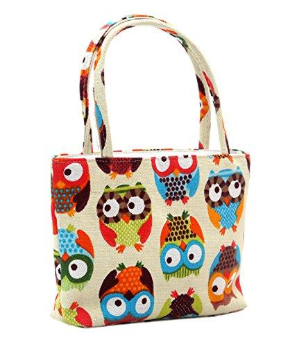 EOZY Damen Mädchen Tote Handtasche Bags Schultertasche Lunch Kosmetik Beutel (Eulen Rosa) Eulen Beige 2