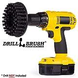 Drill Brush Power Scrubber Nero 13 centimetri di connessione per Cordless Drill Potenza Scrubber ultra rigida per Heavy Duty pulizia