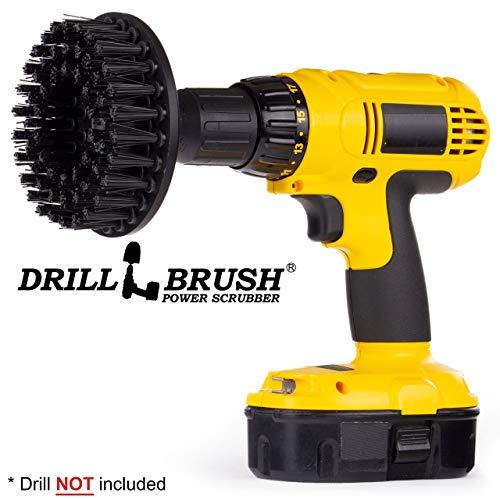 Drill Brush Power Scrubber Schwarz 13cm Befestigung für Akku-Bohrschrauber Leistung Scrubber Ultra-Stiff Für Heavy Duty Reinigung Anwendungen Ziegel Stein Conrete Raue Metall Entfernen