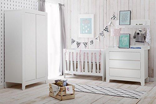 Babyzimmer Kinderzimmer Nicea weiß MDF, Komplettset A, Bett Schrank Kommode Wandregal
