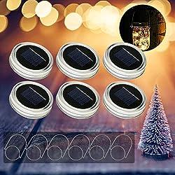 6Pcs Mason jar luz solar LED de vidrio linterna al aire libre, panel solar integrado y LEDs para iluminación solar al aire libre luces cadenas cadena linterna decoración para casa fiesta jardín boda