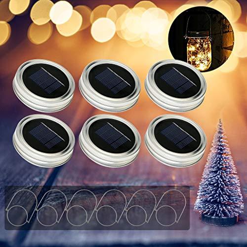 6Pack Mason Jar Luci Solari, Tencoz 10LED Lampada Solare Mason Jar con Coperchio Garden Lighting per la Decorazione di Natale del Partito (bianco caldo)-Niente barattoli