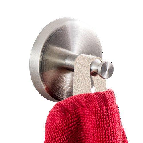 Preisvergleich Produktbild Badserie FIRENZE - Handtuchhaken,  Handtuchhalter 2er Set / robuster Edelstahl matt / zur Wandmontage inklusive Schrauben / auch zum Kleben geeignet - separat erhältlich