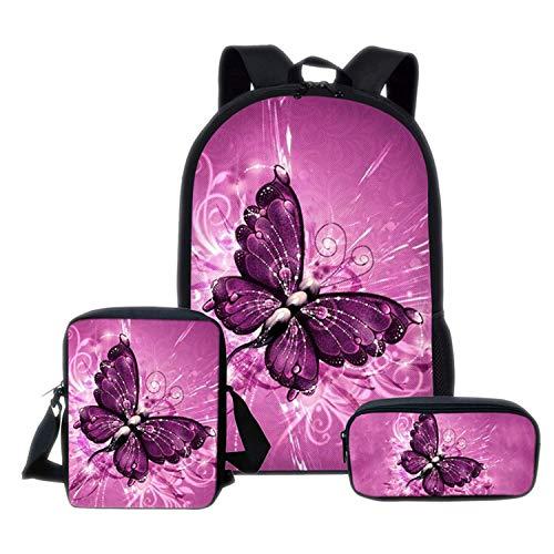 henyangsh Schulranzen-Set in Schmetterlingsform, Schulranzen für Teenager Mädchen, niedliche Schulbüchertaschen, C6 - Größe: Einheitsgröße