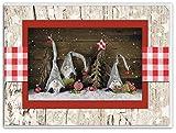 3 Stück Weihnachtskarten WEIHNACHTS-WICHTEL natur rot weiß kariert braun weihnachtliche Klapp-Karten Weihnachten MIT KUVERT Grußkarte Foto-Karte Foto-Motiv OHNE TEXT
