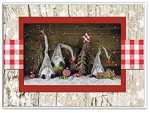 3 st ck weihnachtskarten weihnachts wichtel natur rot wei. Black Bedroom Furniture Sets. Home Design Ideas