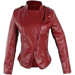 V-SOL Chaqueta De Cuero Artificial Para Mujer Rojo Asia XL Busto 96cm