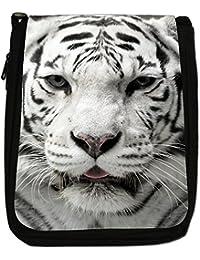 White Tigers Medium Black Canvas Shoulder Bag - Size Medium
