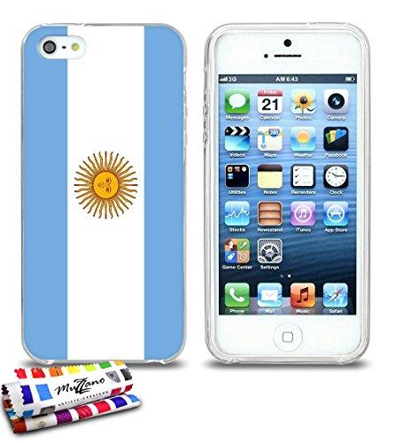 Ultraflache weiche Schutzhülle APPLE IPHONE 5S / IPHONE SE [Flagge Argentinien] [Grau] von MUZZANO + STIFT und MICROFASERTUCH MUZZANO® GRATIS - Das ULTIMATIVE, ELEGANTE UND LANGLEBIGE Schutz-Case für  Durchsichtig