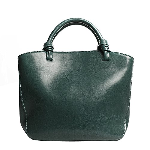 Leathario Borsa donna pelle vera tracolla verde spalla a mano eleganti lavoro vintage cuoio fashion borsone sacca shopping weekend verde
