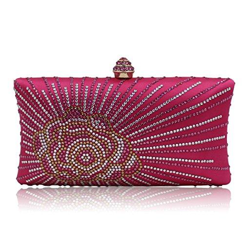 8639db1fa2025 Flada Frauen und Damen Hot Drilling Strass Flower Evening Clutch Handtasche  Tasche mit Kette grün Rosy