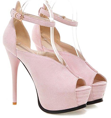 YE Frauen Peep Toe Riemchen High Heels Plateau Stiletto Ankle Strap Pumps mit Schnalle Schuhe Rosa