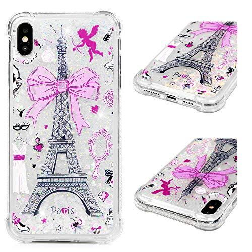 r iPhone XS Max,Transparent Glitzer Handyhülle,Sequins Sparkle Flüssig Liquid Crystal Shiny Case Tasche Schutzhülle in Powder Bow Tower ()